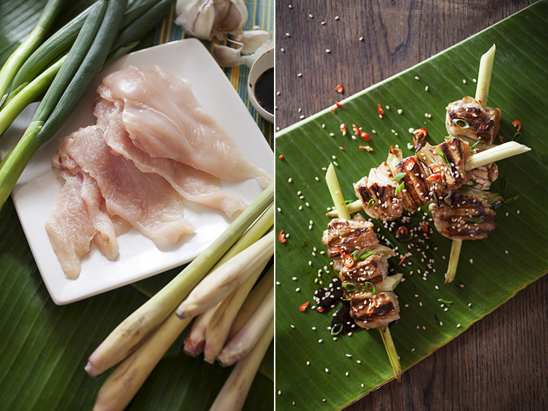 Once you're done with the chicken on the BBQ and you're ready to serve, be sure to top it off with toasted sesame seeds, bird's eye chilies and sauce. Try finding banana leaves to serve for a truly Asian twist. Click on the image for the recipe.