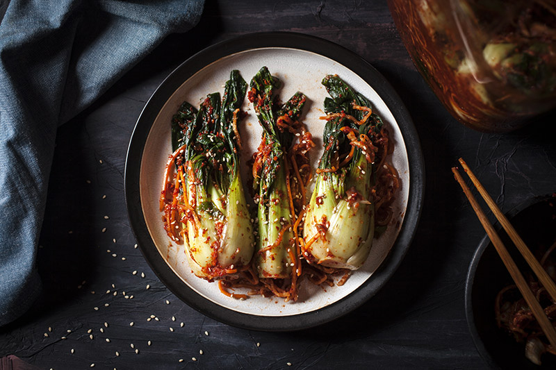 Kimchi prepared with Bok Choy/Pak Soy. Though Kimchi of any sort may appear wilted at first glance, you can believe me when I say that it's anything but soft and mushy. It's crisp, refreshing and bursting with flavour!