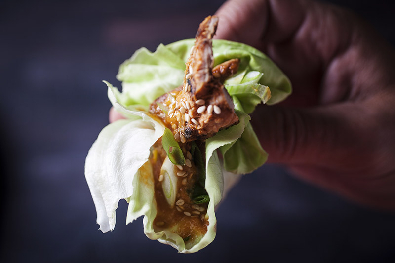 Make a pocket with the lettuce leaves and enjoy your Korean barbecue just as the Koreans do.