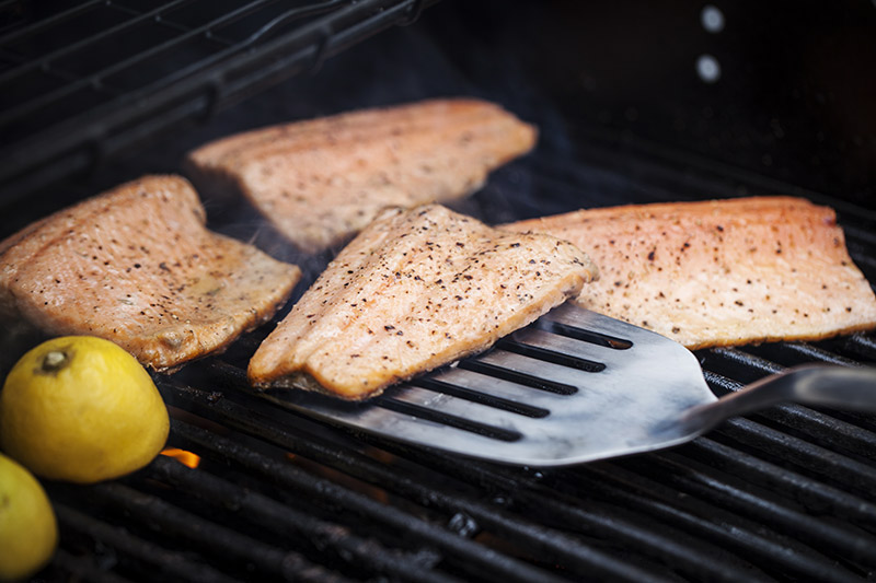 When fish is grilled in the manner, it is not necessary to flip it to flesh-side down. When the hood on the barbie is closed, the fish will cook through to perfection. If the fillet is very thick, such as snapper, you may want to reduce the heat and move it to an indirect heat position on the bbq.