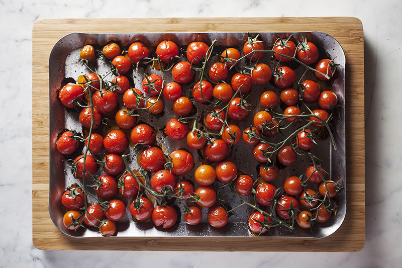 When the tomatoes have browned around the bottoms and the skins are splitting slightly they are ready. Sprinkle with another light dusting of salt and pepper and season further with your choice of herbs and vinegar.