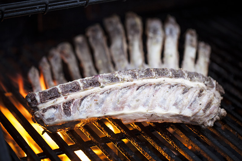 When grilling the rack, begin with the flesh side down and turn once the meat on that side is cooked. About 6 minutes of medium-high heat. Lamb is naturally fatty and flare-ups are normal.