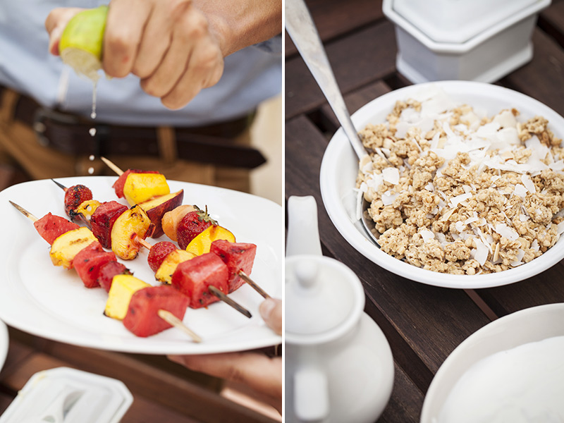 Drizzle the grilled fruit with fresh lime and then dress with a yogurt of your choice and a crunchy muesli with extra dried coconut shavings.