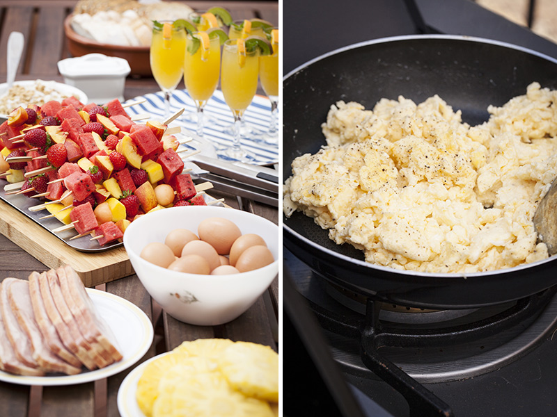 The eggs can either be prepared traditionally in a pan indoors or on your barbie's side burner if you have one.