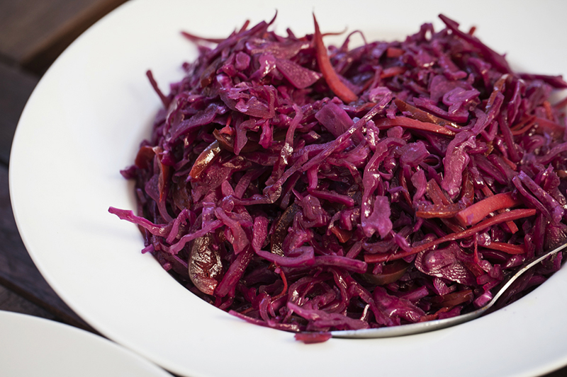 Red cabbage coleslaw!