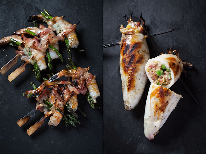 Grilled prawns wrapped in bacon and calamari stuffed with bacon, leek and green peas. Click on the image to view our recipes.