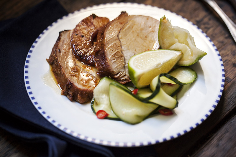 Serve the pork with a the pineapple and a generous serving of the sauce. Accompany it with fresh lime wedges and the simple cucumber salad.